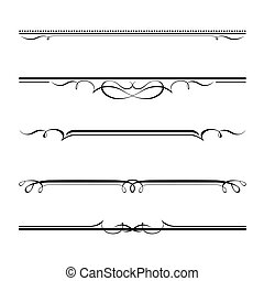 decorative elements, border and page rules - Vector set of ...