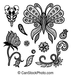 Vector set of decorative elements. Collection of lace patterns: butterfly, flowers and leaves