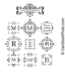 Vector set of decorative frames for wedding invitation,...