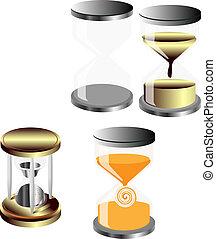 Vector set of decorative hourglass