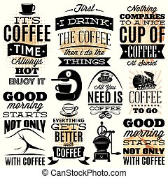 Vector set of decorative inscriptions on white background on theme coffee