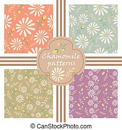 Vector set of decorative pastel flowers patterns. Seamless texture collection. Embroidery floral design with camomiles