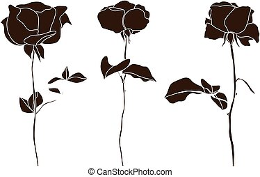 Vector set of decorative rose silhouettes