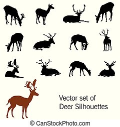 Vector set of deer silhouettes