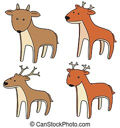 vector set of deer
