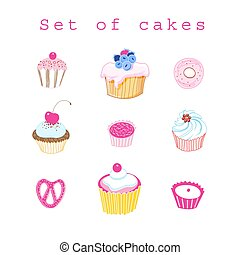 Vector set of delicious cakes