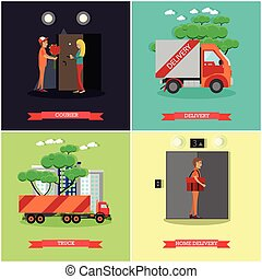 Vector set of delivery posters in flat style