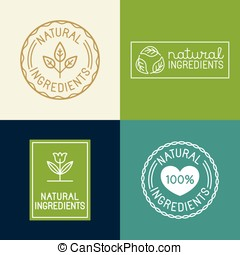 Vector set of design elements and badges for food and cosmetics packaging