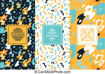 Vector set of design elements and seamless pattern for chocolate packaging