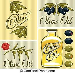 set of design elements for olive oil