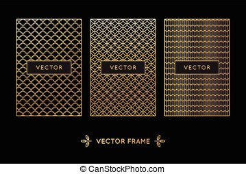 Vector set of design elements, labels and frames