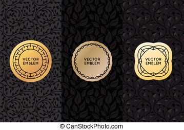 Vector set of design elements, labels and seamless patterns
