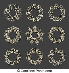 Vector set of design floral round wreath frames.
