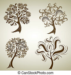 Vector set of designs with tree from leafs. Thanksgiving -...