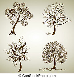 Vector set of designs with tree from leafs. Thanksgiving
