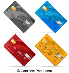 Vector Set of detailed credit cards, isolated on white. Credit card vector illustration. Business Solution.