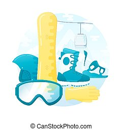 vector set of detailed flat snowboarding equipment. Contains snowboard, mount, boots, helmet, glasses and gloves