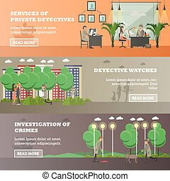 Vector set of detective horizontal banners in flat style -...