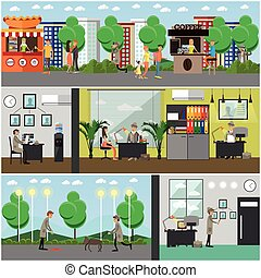 Vector set of detective posters, banners in flat style -...