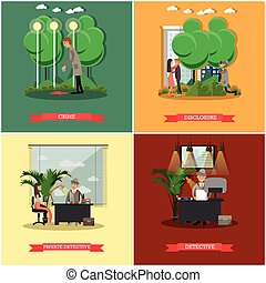 Vector set of detective posters in flat style - Vector set ...