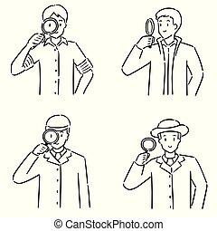 vector set of detective