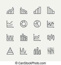 Vector set of diagram and graphs related icons