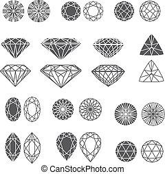 Vector set of diamond design elements - cutting samples