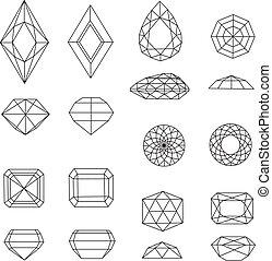 Vector set of diamond design