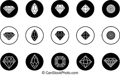 Vector set of diamond icons