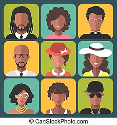 Vector set of different african american women and man app...