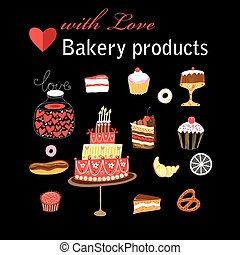 Vector set of different baking