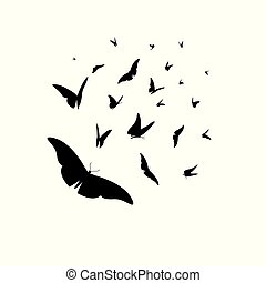 Vector set of different black silhouettes of butterflies