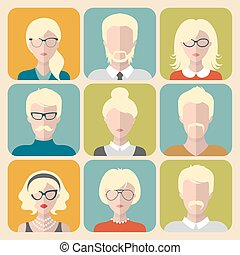 Vector set of different blond people app icons in flat style. People heads and faces images collection.
