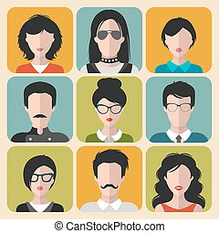 Vector set of different brunet people app icons in flat style. People heads and faces images collection.