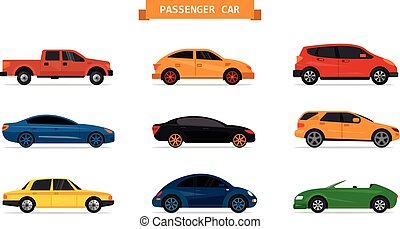 Vector set of different cars isolated on white background. Car icons and design elements.