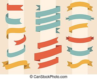 Vector set of different color ribbons in flat style.