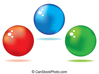 shiny spheres - vector set of different colored shiny ...
