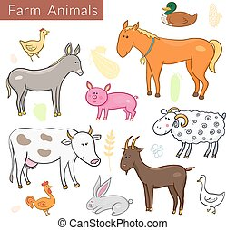 Vector set of different colorful farm animals