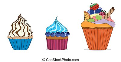 Vector set of different cute cupcakes