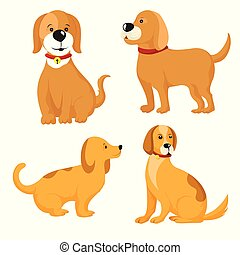 Vector set of different dog breeds