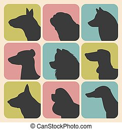 Vector set of different dogs silhouettes icons in trendy flat style.