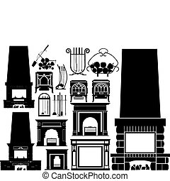 vector set of different fireplaces silhouettes