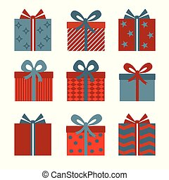 Vector set of different gift boxes.