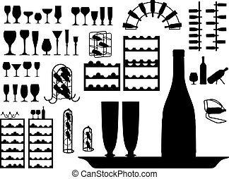 vector set of different glass and bottles silhouettes