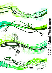 Vector set of different green waves