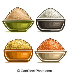 Vector set of different groats in bowls