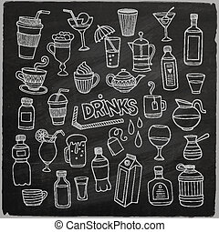 Vector set of different hand drawn beverages on chalkboard....