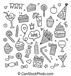Vector set of different hand drawn holiday elements. Vector illustration