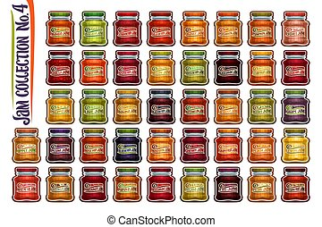 Vector set of different Jam Jars