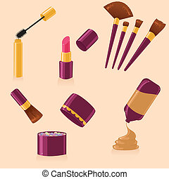 Vector set of different make up